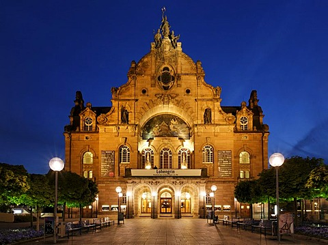 Illuminated Opera House, State Theatre, art nouveau, Nuremberg, Middle Franconia, Bavaria, Germany, Europe