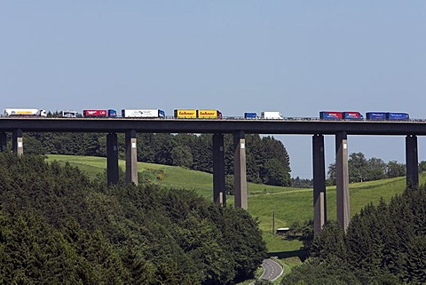 Trucks in a traffic jam on a bridge of the German freeway A 45, Markischer Kreise, North-Rhine Westphalia, Germany