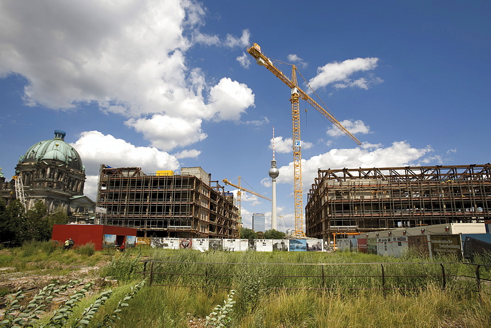 Construction site - Palast der Republik building in East Berlin, former GDR, the Berlin Cathedral (left) and telecommunications tower in the background, Berlin, Germany, Europe