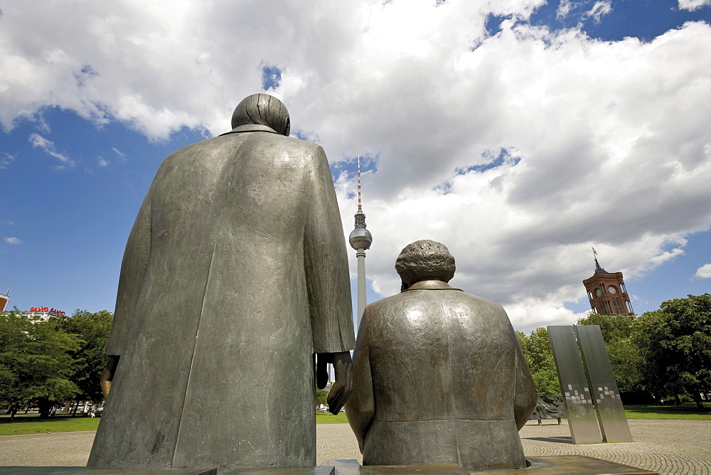 Marx and Engels Monument and telecommunications tower (back), Alexanderplatz, Berlin, Germany