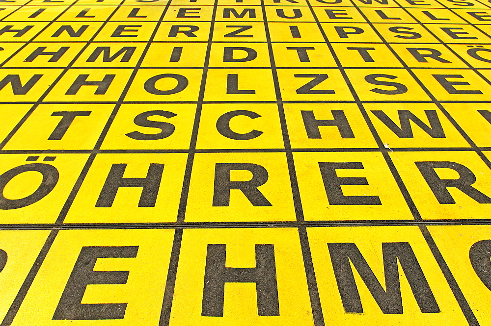 Field of letters of the Kuehn Malvezzi Markierung Glaslager architect team, in front of the Berlin Gallery, National Museum for Modern Art, Photography and Architecture, Berlin, Kreuzberg, Germany, Europe