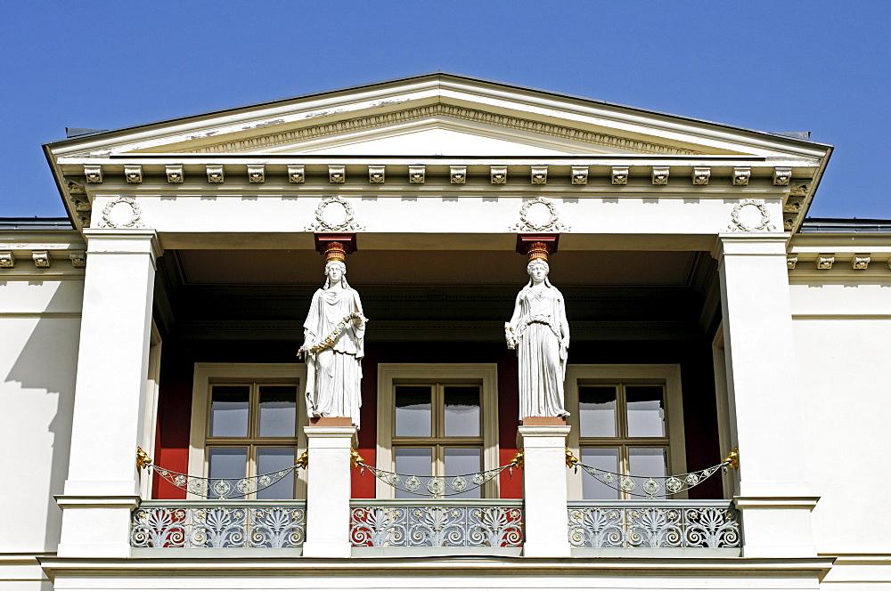 Balcony of a mansion, Potsdam, Brandenburg, Germany, Europe
