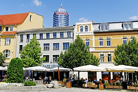 Cafe on Teichgraben in front of Jentower, Jena, Thuringia, Germany, Europe