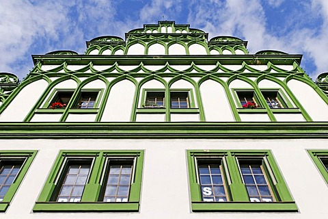 Historical building, tourist information, at the market of Weimar, Thuringia, Germany, Europe
