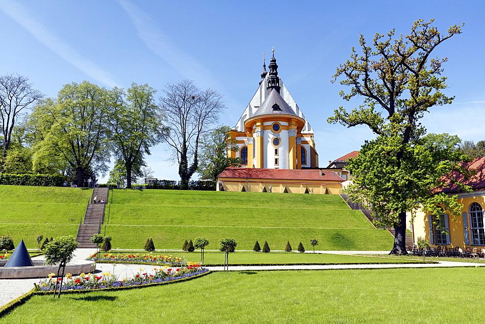 Abbey gardens in the Neuzelle Abbey, Neuzelle, Brandenburg, Germany, Europe