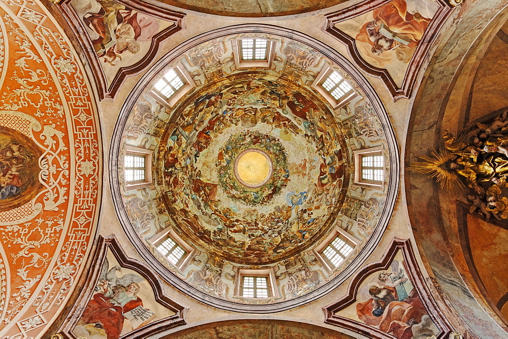 Ceiling fresco in a protestant parish church, holy cross church, Neuzelle Abbey, Neuzelle, Brandenburg, Germany, Europe