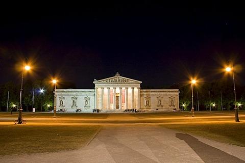 Glyptothek, Koenigsplatz, at night, Munich, Upper Bavaria, Bavaria, Germany
