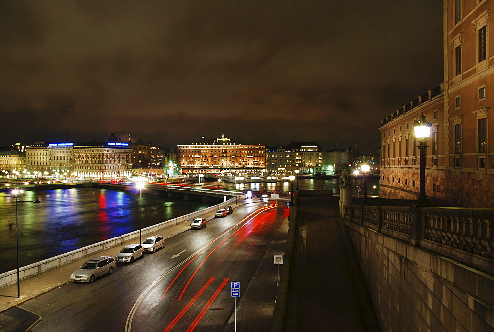 Nighttime view of Blasieholmen and the Grand Hotel in Stockholm, Sweden, Scandinavia, Europe