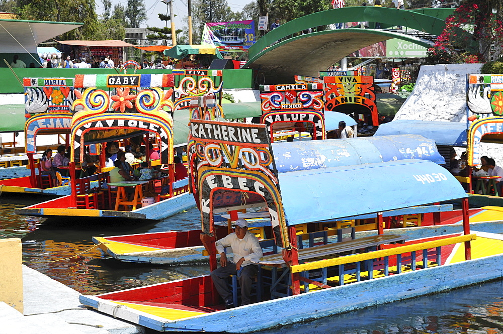 Boats, Trajineras, Xochimilco, Mexico City, Mexico, North America