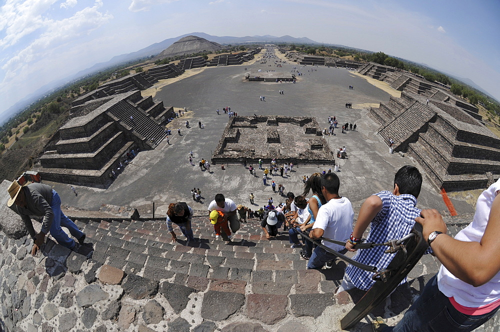 Pyramid of the Sun, Plaza de la Luna, Calzada de los Muertos, Avenue of the Dead, Teotihuacan, Mexico, North America