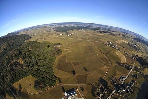 View from a hot-air balloon, balloon trip, near Lake Zeller, Austria, Europe