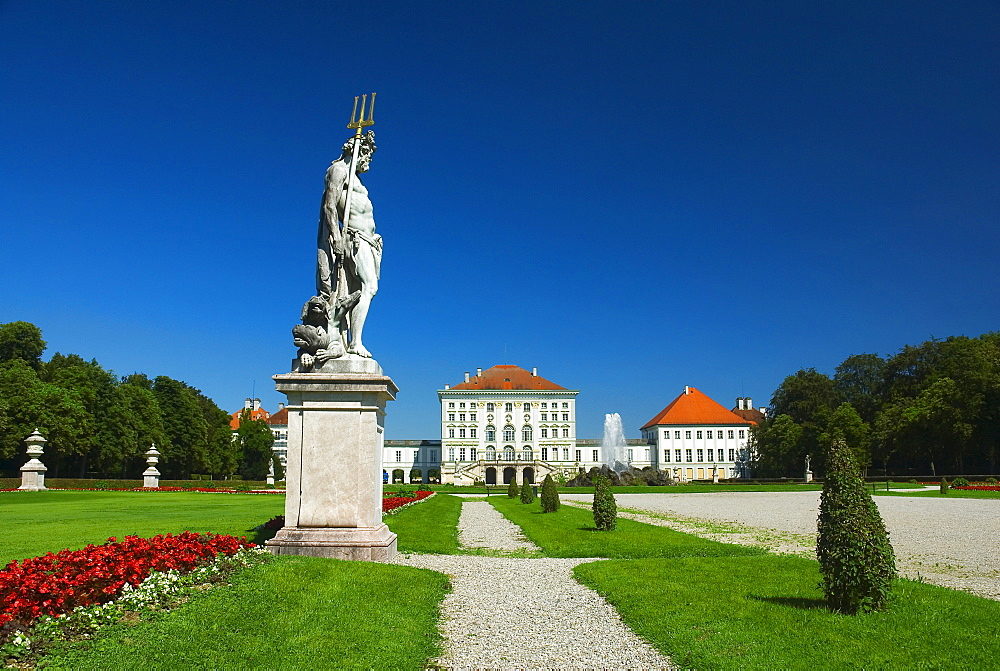 Sculpture of Hades, with Kerberos or Cerberus at his feet, in front of Nymphenburg Palace, Munich, Bavaria, Germany, Europe