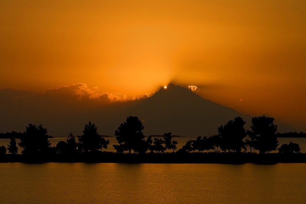 Sunrise behind Mount Athos, Sithonia, Chalkidiki, Greece