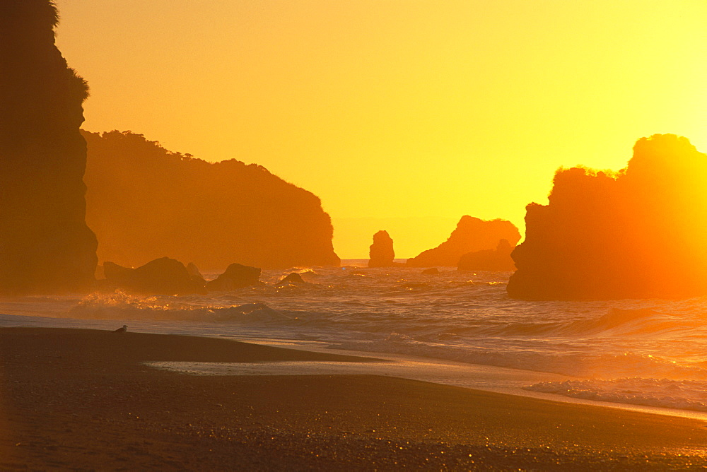 Sunset over the coast near Knight Point, western coast of the South Island, New Zealand, Oceania