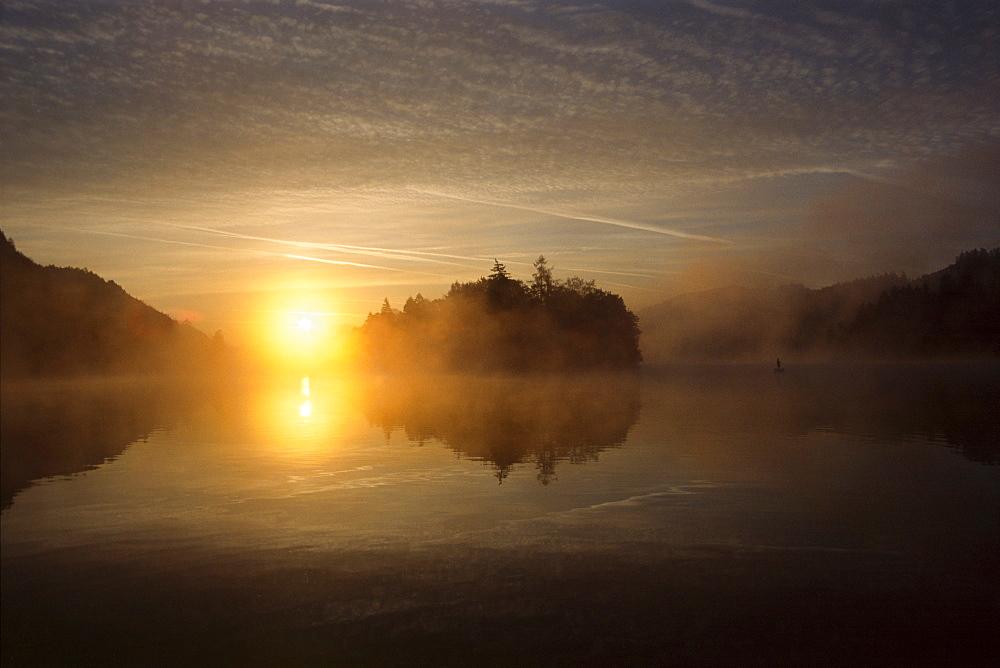Sunrise over Reintaler See (Reintal Lake), North Tirol, Austria, Europe