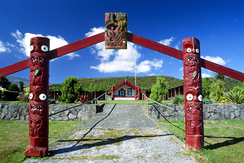 Entrance gate to a Marae-meeting place of the Maoris, South Island, New Zealand - 832-343100
