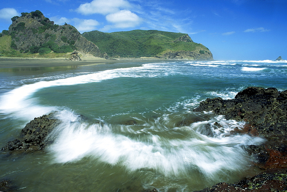 "Beach of the Karekare, film location of ""The Piano"", West Coast, North Island, New Zealand"