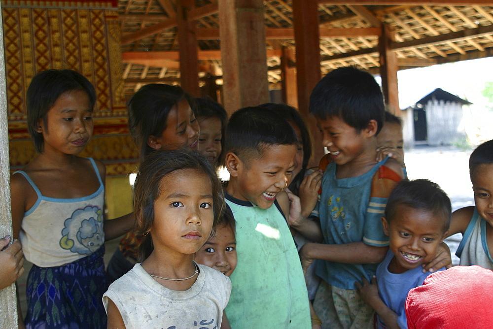 Children on the island of Don Khong, Siphandon. Laos