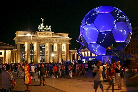 Brandenburg gate with a giant soccer ball during world championchip 2006 Berlin Germany
