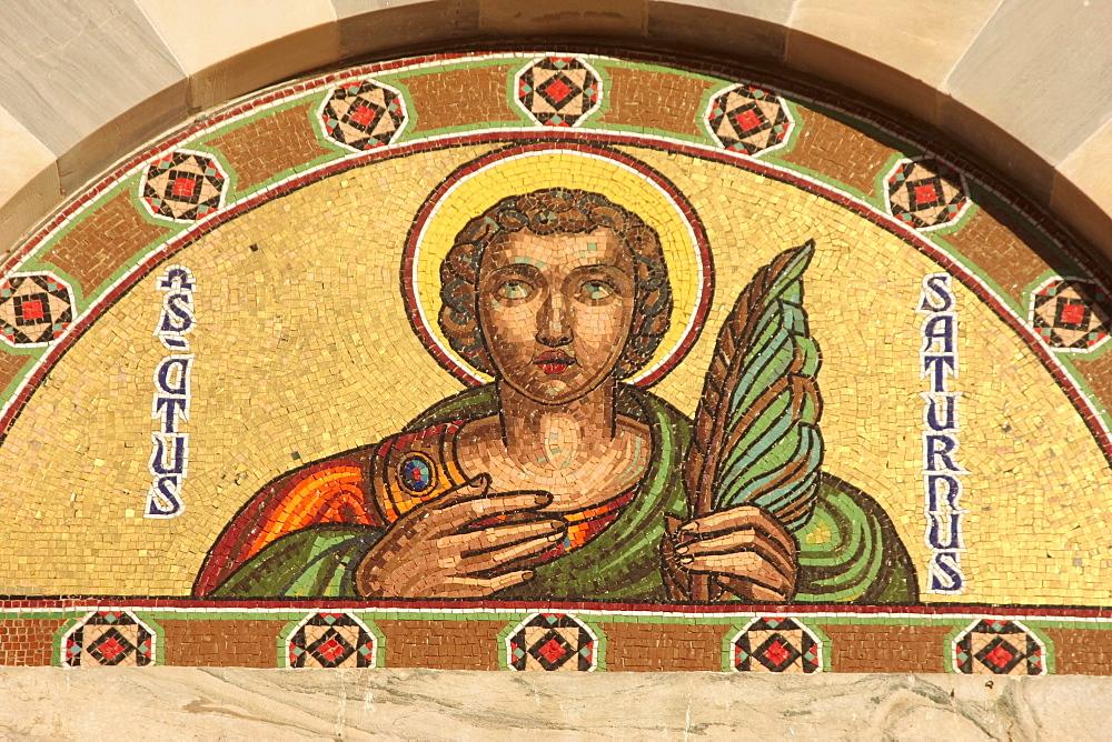 Mosaic at the cathedral of Cagliari (Church Santa Maria di Castello) Cagliari, Sardinia, Italy, Europe