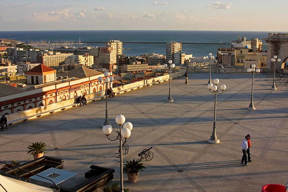 Bastione San Remy, viewing terrace and meeting point, Cagliari, Sardinia, Italy, Europe