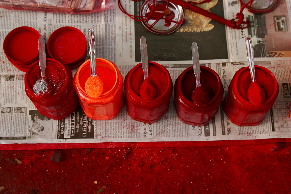 Red colours at a vendor's booth (important element of Hinduism) in Kolkata, West Bengal, India, Asia