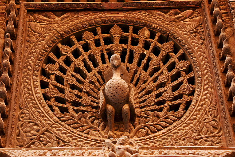 Peacock Window, wood carving in Bhaktapur, Nepal, Asia