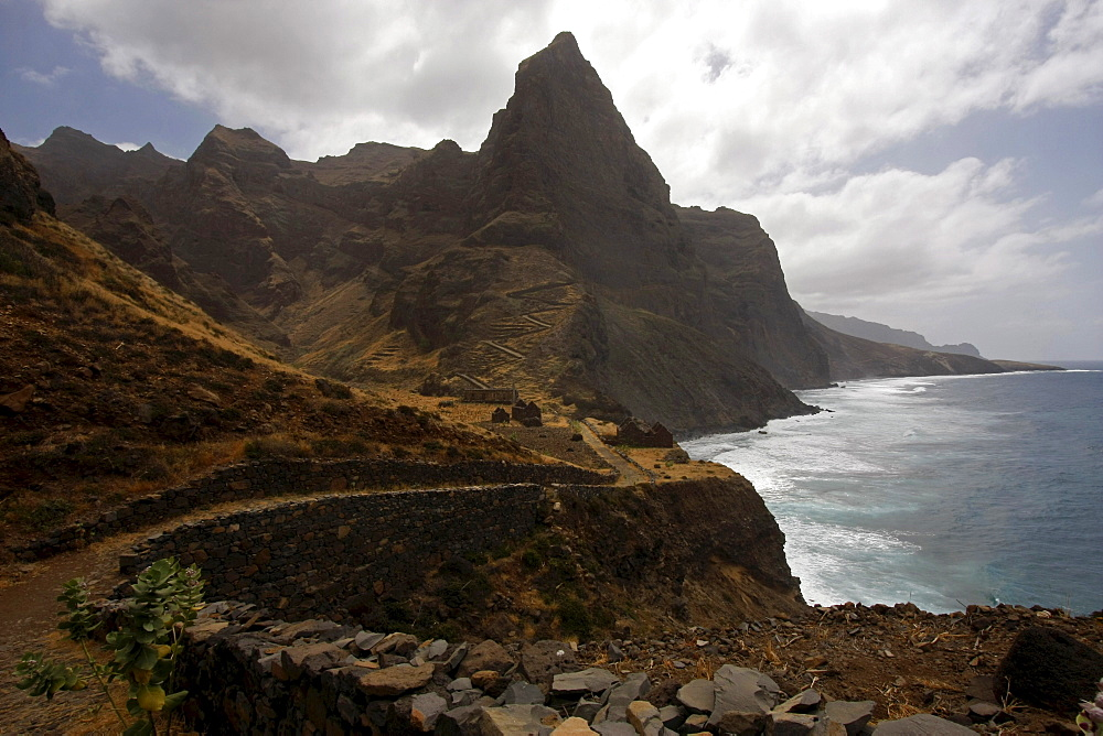 Hiking trail along the mountainous coast of Santo Antao Island, Cape Verde, Africa