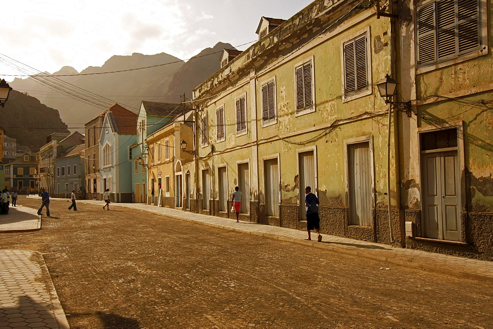 The main street of Ribeira Grande on Santo Antao Island, Cape Verde, Cape Verde Islands, Africa