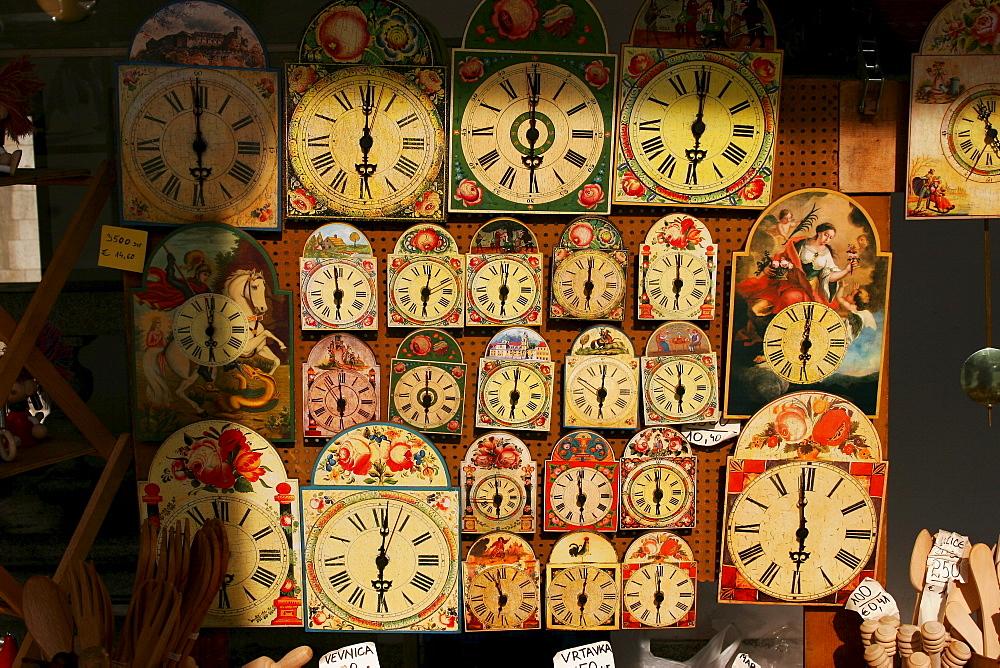Clocks and souvenirs in a souvenir shop, Ljubljana, Slovenia, Europe