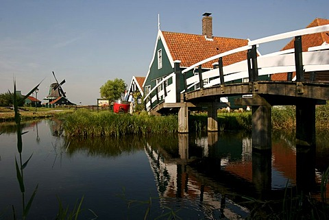 The characteristic wooden houses and windmills as in the 17th century in the Museum Zaanse Schans, Zaandam, Netherlands, Europe