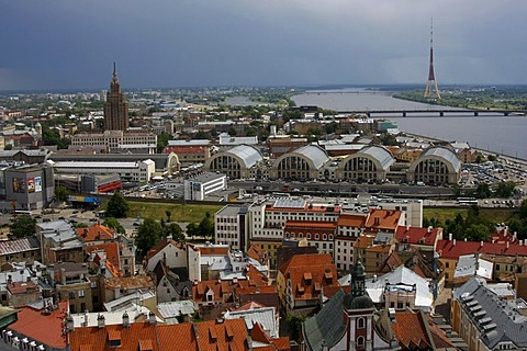 Aerial photograph of the historic city centre of Riga with market halls, Latvian Academy of Sciences, known as Stalins Birthday Cake, Daugava River and the television tower, Riga, Latvia, Baltic region, Europe