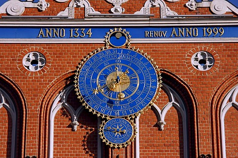 Clock by the House of the Blackheads at the Town Hall Square in Riga, Latvia, Baltic states