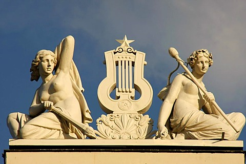 Statues on top of the National Opera House in Riga, Latvia, Baltic states