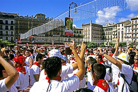 Fiesta in Pamplona with bull race yearly from 06 to 14 of july, Pamplona Spain