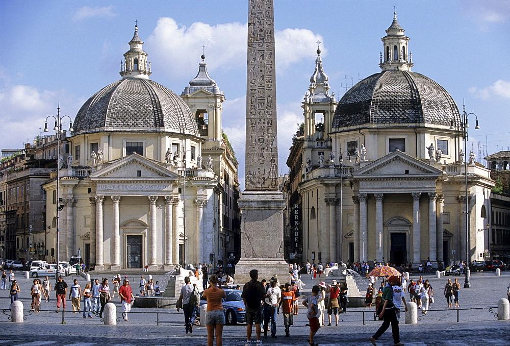 Santa Maria di Montesanto Church, obelisk, Santa Maria dei Miracoli, Piazza del Popolo, Rome, Latium, Italy