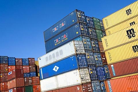 Overseas container, Port of Hamburg, Germany