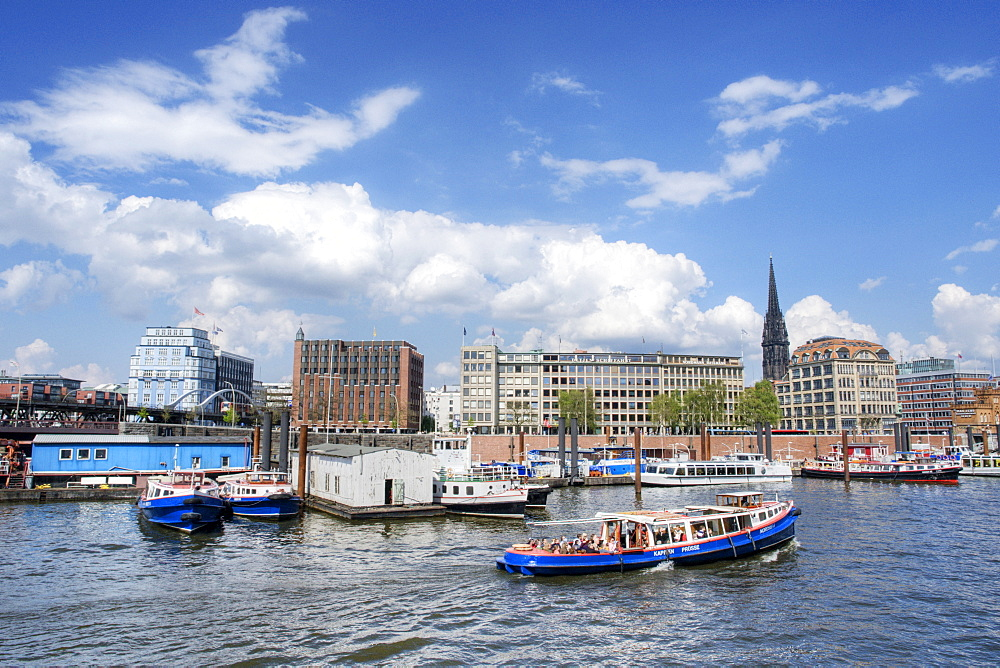 Barges on a loading canal, Hamburg, Germany, Europe