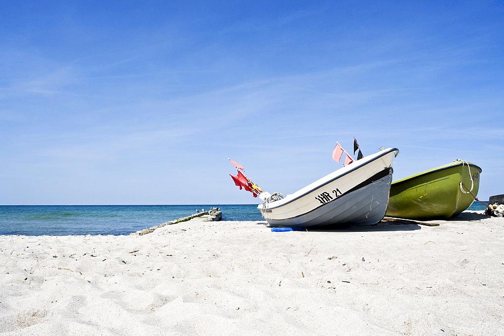 Boats on the beach, Ahrenshoop, Mecklenburg-Western Pomerania, Germany, Europe