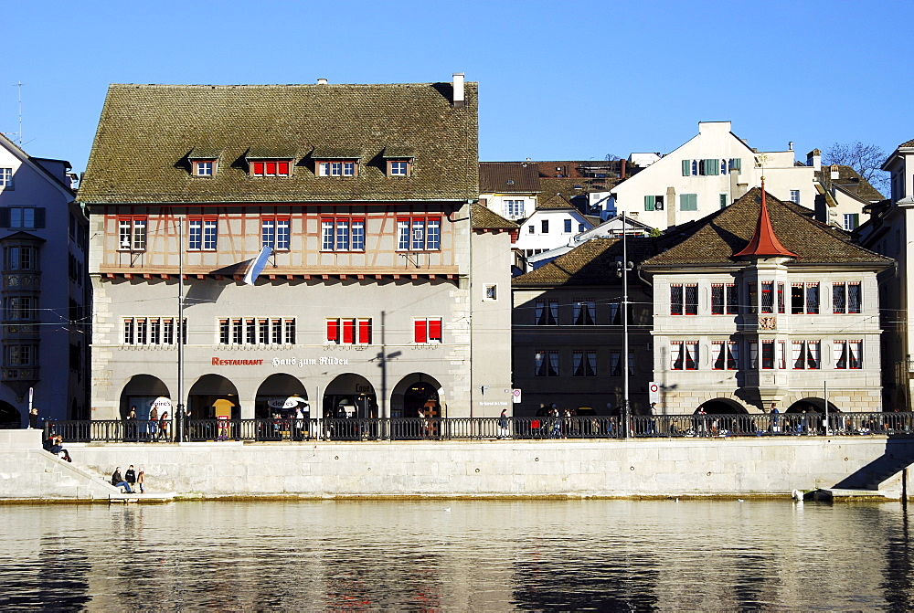 "Guild house ""Zum Rueden"" and guild house ""Zur Zimmerleuten"", Zurich, Switzerland, Europe"