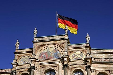German flag on the Maximilianeum, Munich, Upper Bavaria, Bavaria, Germany