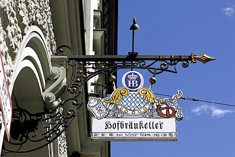 Sign, Hofbraeukeller, Munich, Bavaria, Germany