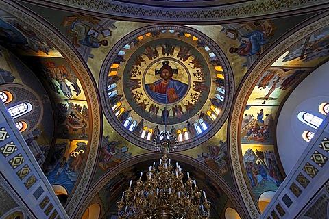 Interior of a greek orthodox church in Fira in Santorin in the Aegean, Greece