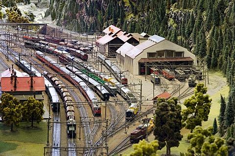 Model of the train station of Erstfeld at the Gotthard railway model, Museum of Transport, Lucerne, Switzerland