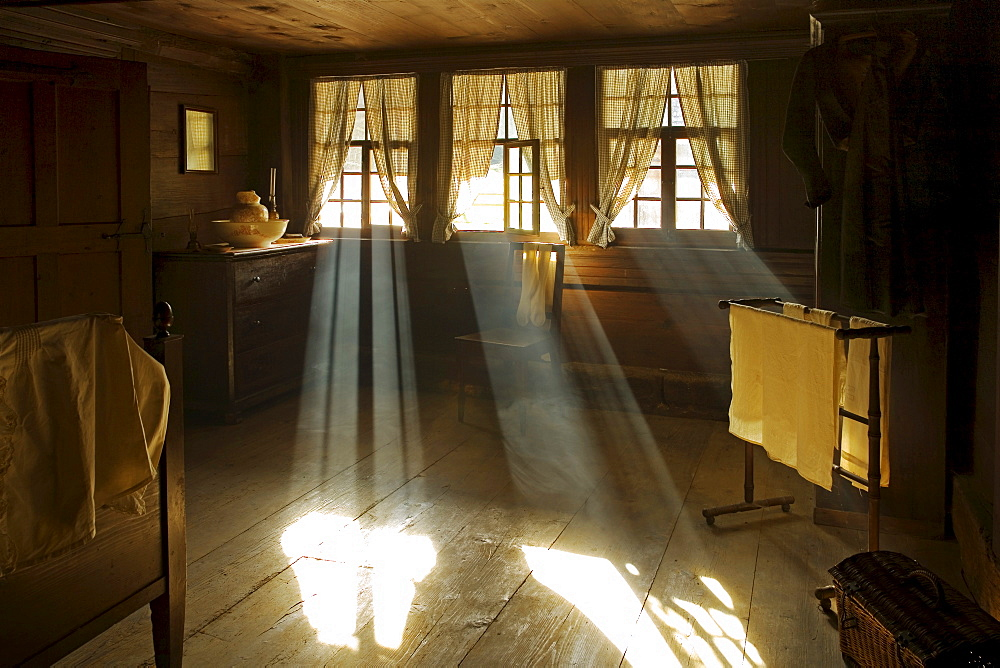Bedroom of an old farm-house, light beams, Open-air museum Ballenberg, Brienz, Switzerland, Europe