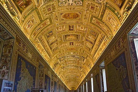 Hallway with magnificent mosaics, wall hangings and paintings at the Vatican Museums , Rome , Lazio , Italy , Europe
