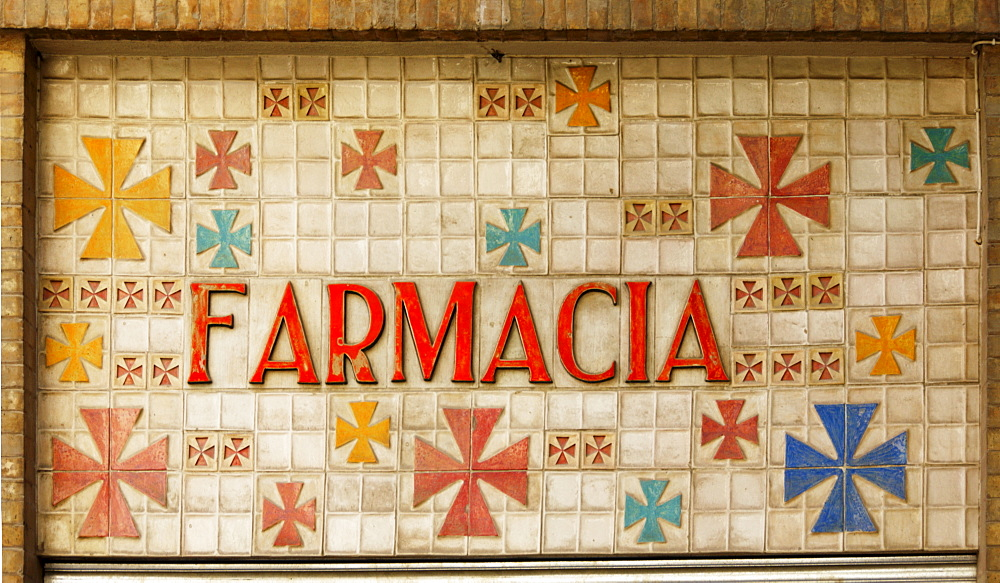 Pharmacy sign, Seville, Andalusia, Spain, Europe