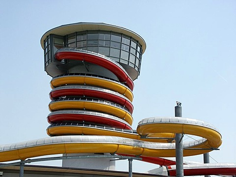 Waterslide towers of the Spa in Lutzmannsburg, Burgenland, Austria