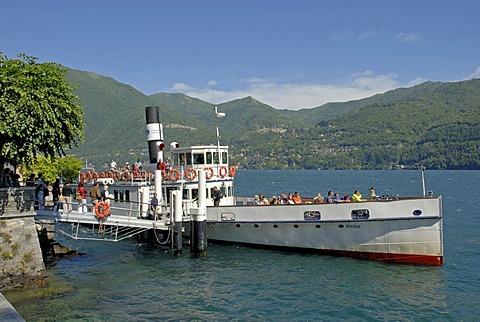 Ferry boat stops at a stopover, Lake Como, Lago di Como, Italy