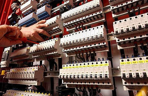 Building of switchgears in a school, Installations of the current distributor. Fuse box, electrical safety devices.
